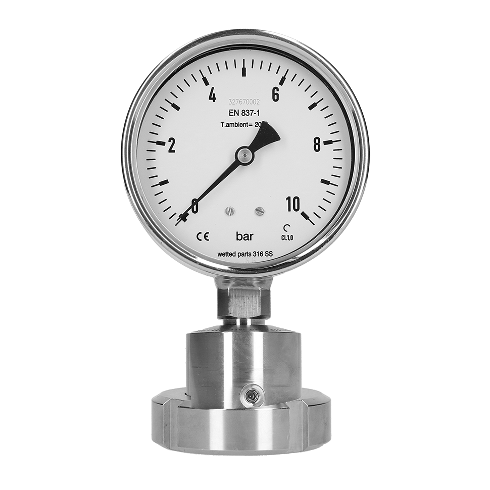 PBQ In-Line Sanitär Manometer mit chemischer Dichtung