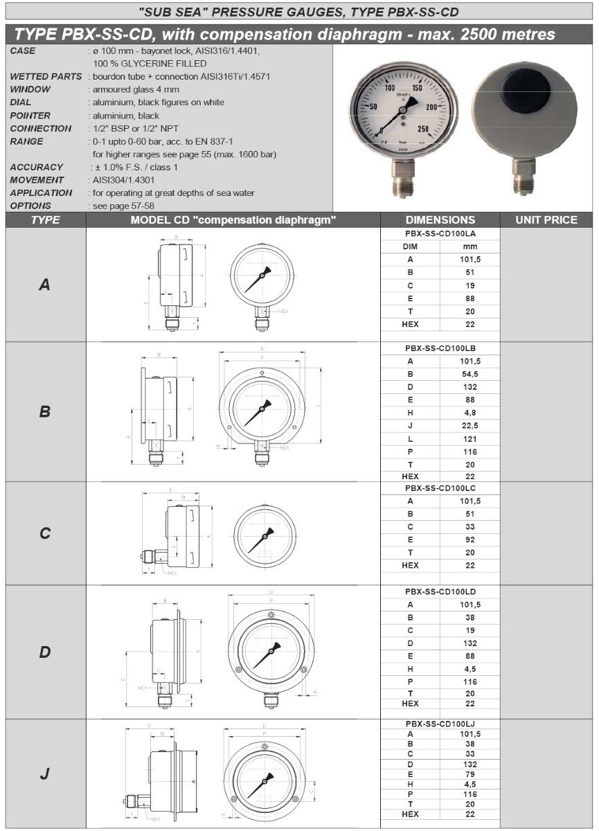 PBX-SS-CD Compensation diaphragm max 2500m